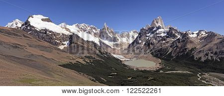 Mountains Valleys and Glaciers Patagonian Andes of Los Glaciaries National Park in Argentina