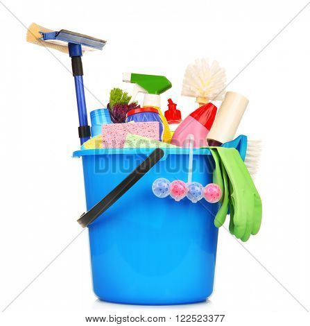 Cleaning set with tools and products in plastic bucket, isolated on white