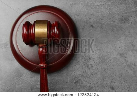 Law gavel on grey background, copy space