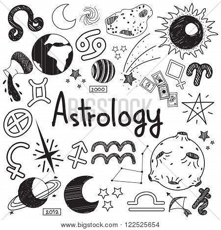 Astrology and fortunetelling doodle handwriting sketch sign and symbol in white isolated background paper used for presentation title or subject introduction create by vector