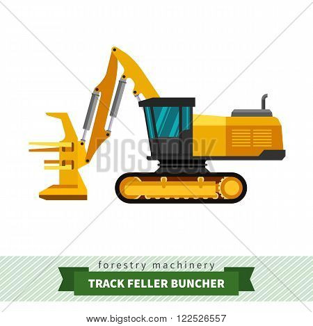 Track feller buncher forestry vehicle vector isolated illustration