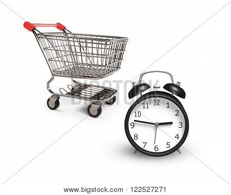 Alarm clock with small shopping cart isolated on white limited time shopping concept.