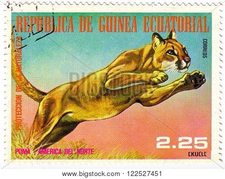 Equatorial Guinea - Circa 1977: A Stamp Sheet Printed In Equatorial Guinea Shows Puma From A Collect