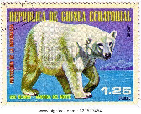 Equatorial Guinea - Circa 1977: A Stamp Sheet Printed In Equatorial Guinea Shows Polar Bear, A Colle