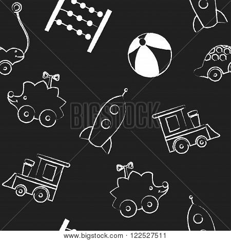 Seamless pattern  with white children's chalk drawings jn black background. Hand-drawn style. Seamless vector wallpaper with the image of balloon, flower, horse, pyramid, rocket, ball, whirligig