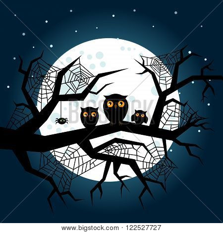 Halloween illustration. Poster, flyer, banner or background for Halloween Party Night. Flat design, vector illustration.