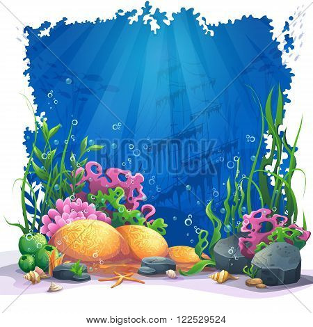 Beautiful coral and colorful reefs and algae on sand. Vector illustration of sea landscape.
