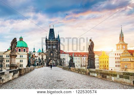 Charles Bridge and Old Town in Prague Czech Republic