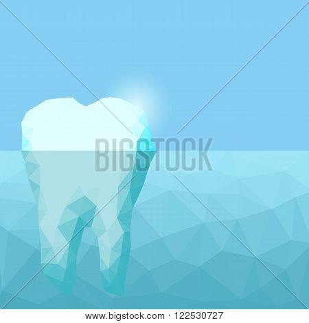 Low poly tooth iceberg great for health dental care concept