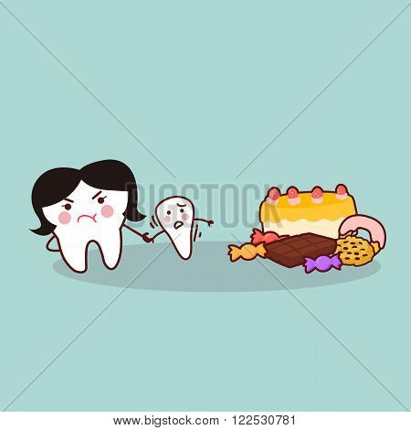cute cartoon tooth resist dessert great for health dental care concept