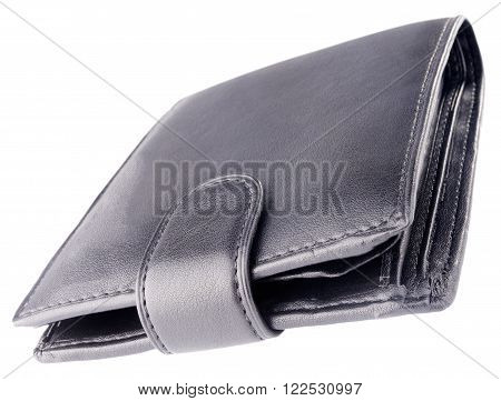 Black leather wallet isolated on the white background