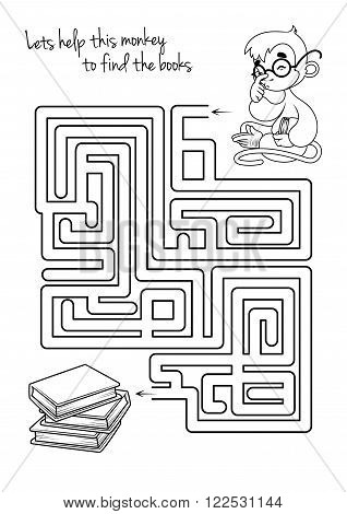 Maze game for kids with monkey and books. Lets help this monkey to find his way to the books. Vector template page with game.