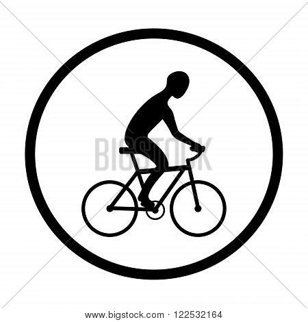 Man on bike silhouette. Landscape background. Black and white sign, circle icon. Vector illustration.