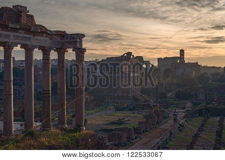 Rome, Italy:  the Temple of Saturn, Latin: Templum Saturni or Aedes Saturnus, Italian: Tempio di Saturno in the Roman Forum, Latin: Forum Romanum, Italian: Foro Romano