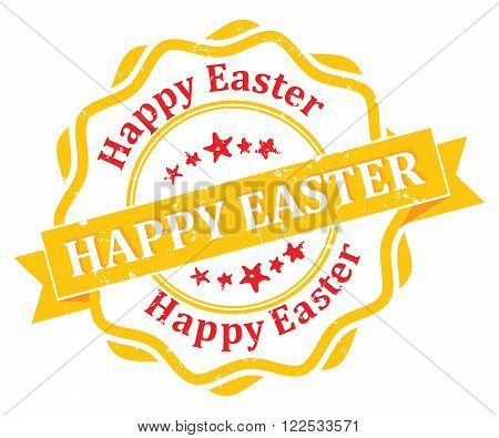 Happy Easter! - bi-color grunge label. Print colors used