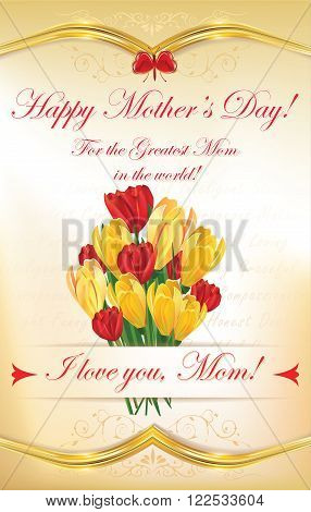 Happy Mother's Day greeting card with tulips and crocuses flowers. Print colors used.