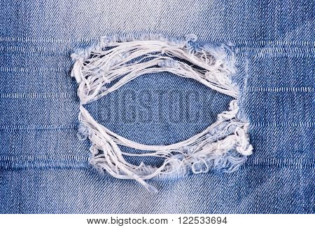 Blue torn denim jeans texture or background