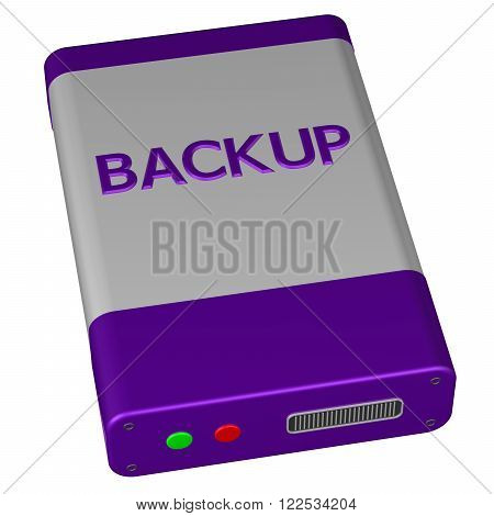 Concept - Backup isolated on white background. 3D render.