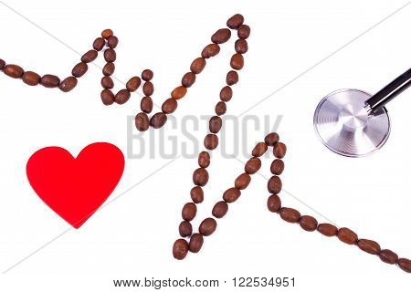 Electrocardiogram line of roasted coffee grains, red heart and medical stethoscope on white background, ecg heart rhythm, medicine and healthcare concept