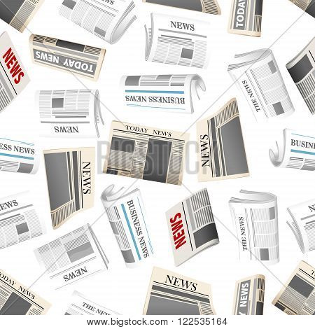 Fresh daily newspapers seamless pattern of cartoon folded newspapers randomly scattered over white background. Media, news theme or interior design