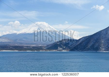 Mountain Fuji and lake