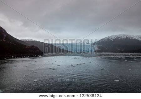 Chilean Fjords and Glaciers, Patagonia on a overcast rainy day.