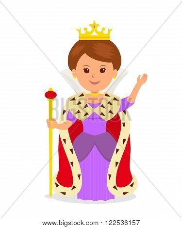 Cute girl Queen. Isolated female character in a princess costume with a crown and scepter on a white background.