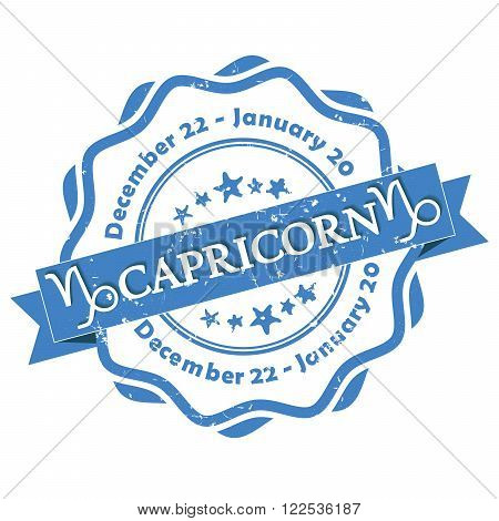 Capricorn zodiac sign grunge blue ribbon, also for print. Contains also the Dates of Birth.