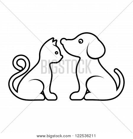 Vector cat and dog high quality outline illustration