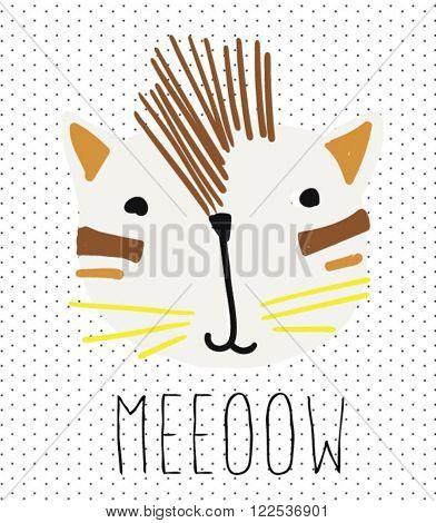 cute vector punk tiger  illustration
