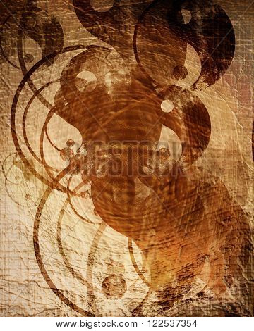 Grunge yin yang symbol background. with some rough scratches