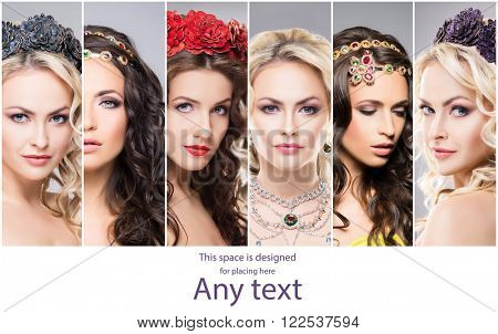 Portraits of young and beautiful women wearing luxury and precious Jewellery. Set of different faces.