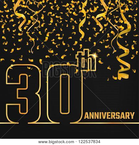 Vector Illustration of Anniversary 30th Outline for Design, Website, Background, Banner. Jubilee silhouette Element Template for festive greeting card. Shiny gold Confetti celebration