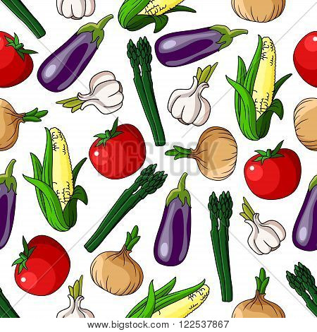 Colorful pattern of eggplants and corn cobs, tomatoes and asparagus, onions and garlic vegetables. Seamless pattern background