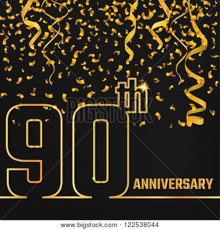 Vector Illustration of Anniversary 90th Outline for Design, Website, Background, Banner. Jubilee silhouette Element Template for festive greeting card. Shiny gold Confetti celebration
