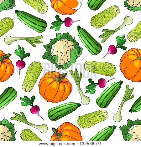 Ripe farm vegetables seamless pattern of zucchini and leek, pumpkin and chinese cabbage, cauliflower and radish vegetables. For agriculture theme or recipe book design usage