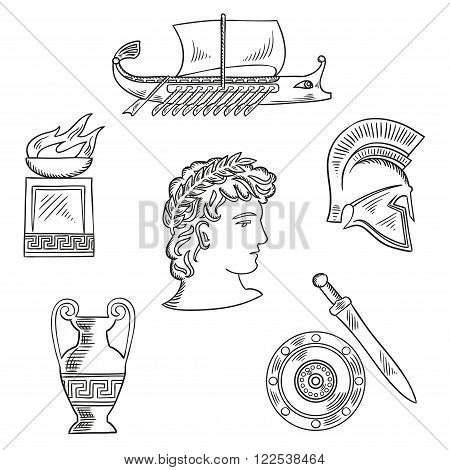 Historical and cultural symbols of ancient Greece with emperor in laurel wreath, surrounded by sketches of amphora and soldier helmet, shield and sword, fire pit bowl and warship galley