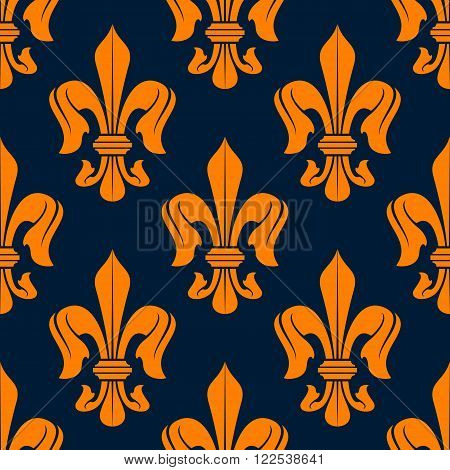 Medieval victorian royal lilies floral pattern with orange fleur-de-lis ornament over blue background. French heraldry theme or vintage interior design