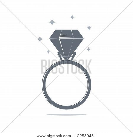 Diamond engagement ring icon. Wedding ring icon. Ring Icon. Vector illustration.