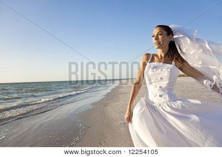 Bride At Beach Wedding