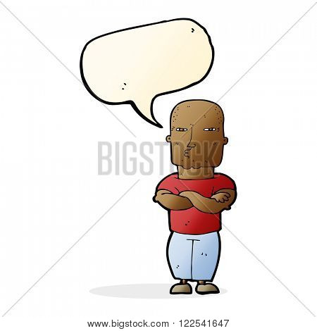 cartoon tough guy with speech bubble