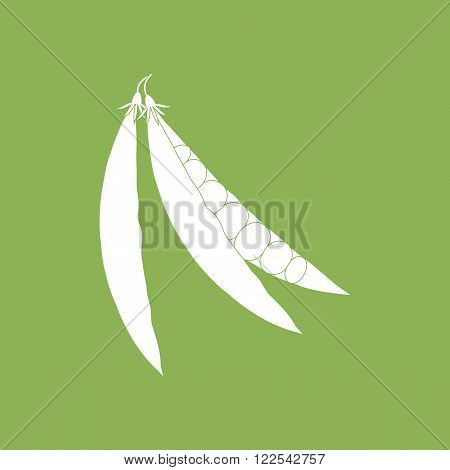 Green Pea Icon isolated on a green background. Vector illustration
