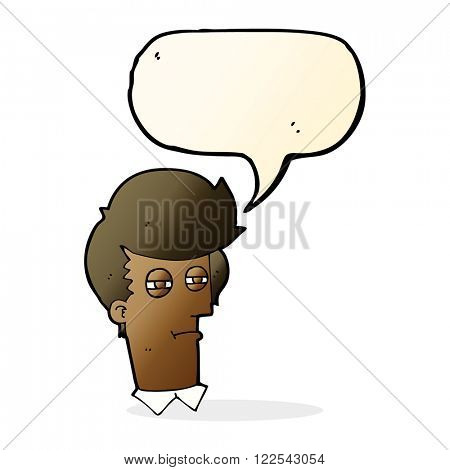 cartoon man with narrowed eyes with speech bubble