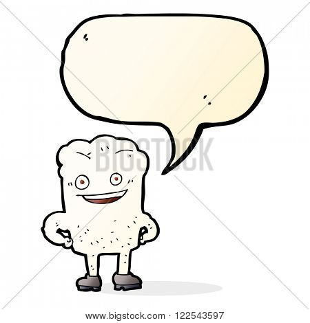 cartoon tooth looking smug with speech bubble