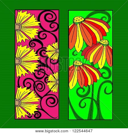 Bookmarks for book with flowers and ornaments Bookmarks for book with flower ornaments and leaves on a green background doodle