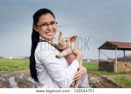 Veterinarian Girl With Piglet