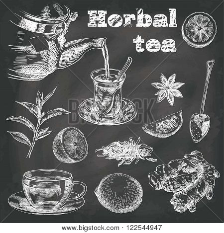 hand drawn sketches of natural tea, lemon, ginger and star anise on a black background