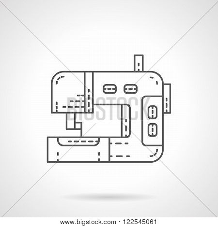 Sewing equipment flat thin line vector icon