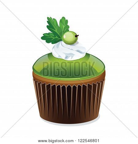 Icon cupcake in a cup isolated on white background. Cupcake with green jelly and cream. Beautiful cake with gooseberries. Vector illustration.