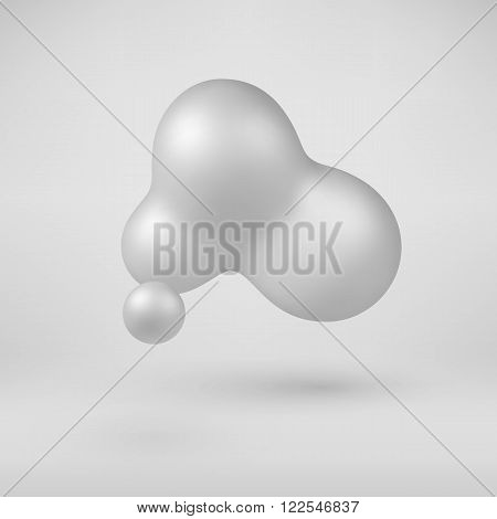 White abstract shape, pearl with realistic shadow and light background for logo, design concepts, web, presentations and prints. 3D render design. Vector illustration.